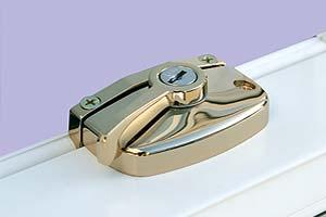 Gold effect lockable latch