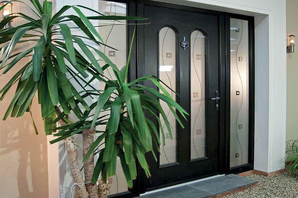 Black palladio door with side screen