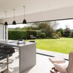 Origin bi fold door open kitchen to garden