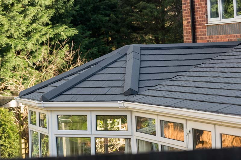 Tiled effect roofs for garden rooms
