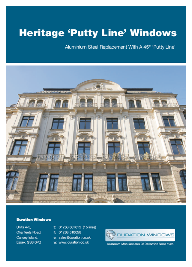 Duration aluminium heritage putty line windows
