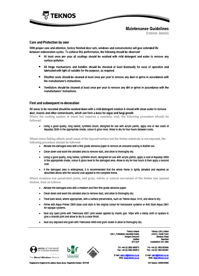 Maintenance guidelines exterior joinery