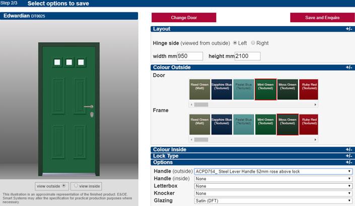 Screen grab of a Smarts interactive door designer