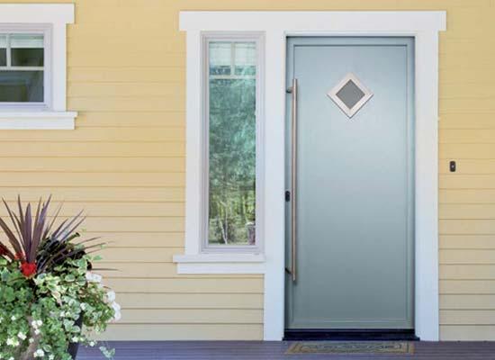 Aluminium single front back doors diamond glass windows 1