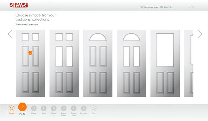 Screenshot of the shaws appear door designer