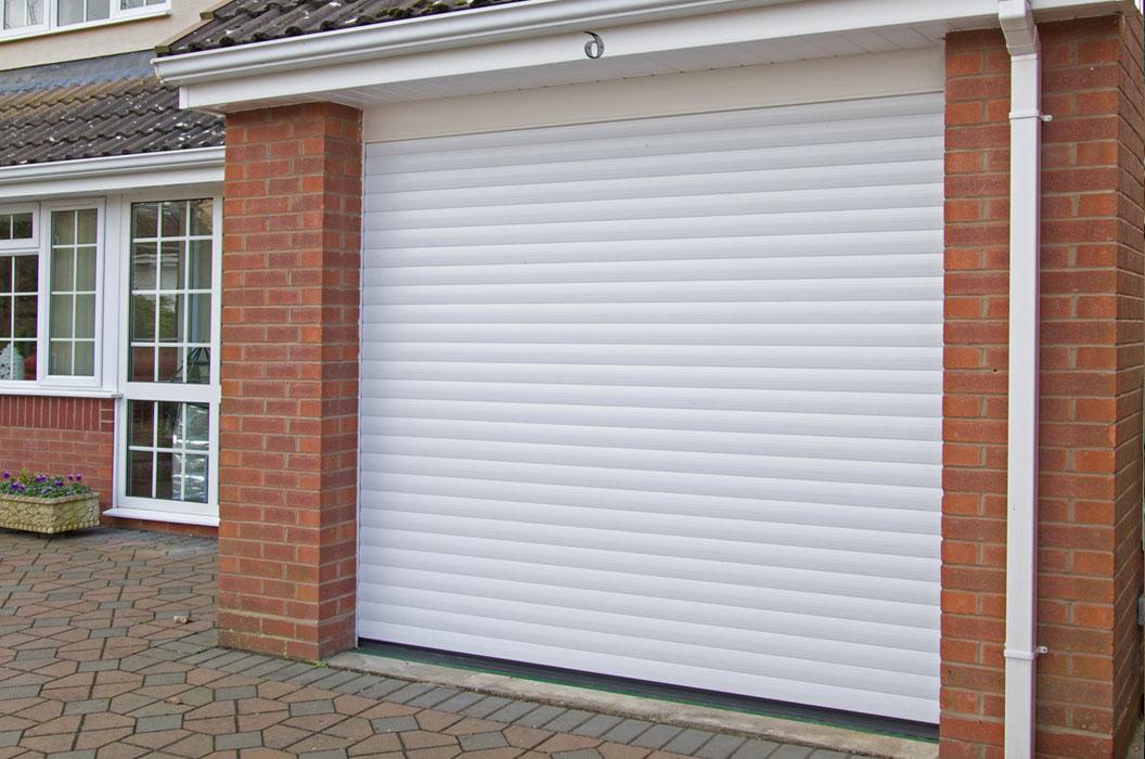 White classic roller garage door title=